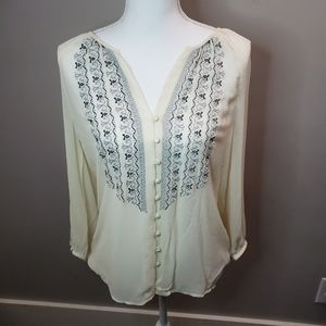 Joie Anthropologie Embroidered Cream Boho Top XS